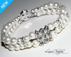 Wedding Pearl Bracelet Swarovski White Round Pearls Swarovski Crystals Two Strands Bridal FREE US Shipping. $35.00, via Etsy.