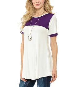 Another great find on #zulily! Ivory & Purple Contrast Tunic - Plus #zulilyfinds