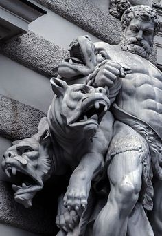 Hercules and Cerberus. The Labor of Hercules was the capture of Cerberus, guardian of Hades -Hofburg palace. Ancient Greek Sculpture, Greek Statues, Ancient Art, Angel Statues, Buddha Statues, Stone Statues, Hercules Statue, Zeus Statue, Poseidon Statue