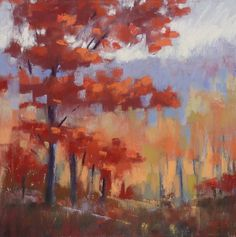 Title: Fall Inspiration.  RED TREE Fall  Autumn Landscape 8 x 8  by Karen Margulis Fine Art, $125.00usd.