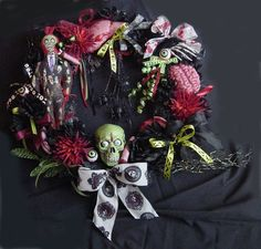 Halloween Zombie Horror Wreath READY To Ship With Handmade Zombie Doll, Body Parts, Handpainted Zombie Head Halloween Ii, Halloween Wreaths, Halloween Ornaments, Halloween Crafts, Holiday Crafts, Halloween Ideas, Halloween Decorations, Christmas Wreaths, Christmas Ideas