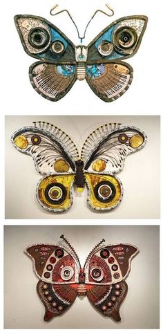 Michelle Stitzlein creates art from found materials such as piano keys, broken china, and other recycled items.