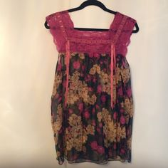 "Free people sheer lace top Gently worn. No price/content tag. Probably s/m. Price firm. No trades modeling. Chest abt 22@. Length fr shoulder abt 26"" Free People Tops"