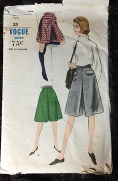 "Vintage Pattern Vogue 6055 Culottes Divided Skirt Golf Waist 25"" 1960's Fashion"