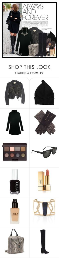 """A little bit edgy..."" by cindy88 ❤ liked on Polyvore featuring H&M, WithChic, Laura Mercier, Ugo Cacciatori, Essie, Yves Saint Laurent, White House Black Market, women's clothing, women and female"