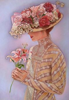 "The hat is gorgeous. This painting is called ""Lady Jessica"" by Sue Halstenberg"