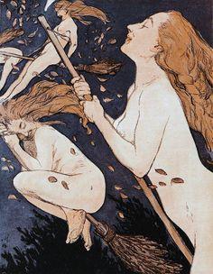 Walpurgis, by Adolf Münzer for Jugend magazine, 1909 Beltane, Walpurgis Night, Three Witches, Traditional Witchcraft, Flying Witch, Wicca Witchcraft, Wiccan, Mystique, Witch Art