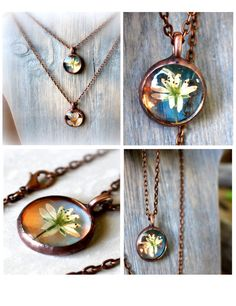 Pressed Flower Terrarium Layering Necklace Bohemian Jewelry in Dichroic Glass and Copper by MMartiniuk