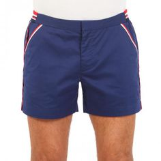 CAVATION BLUE COTTON WALK SHORTS Cavation blue cotton mid-length walk shorts with two front pockets and two welt back buttoned pockets. Contrast border stripes. Interior metal hook closure and zipper. Contrast ribbed cotton inserts at waistband. COMPOSITION: 100% COTTON. Model wears size 32 he is 189 cm tall and weighs 86 Kg.