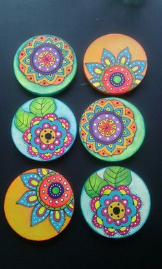 Best 11 6 x hand painted bamboo coasters with stand Painted Bamboo, Painted Rocks, Hand Painted, Pottery Painting Designs, Paint Designs, Ceramic Painting, Stone Painting, Cd Crafts, Arts And Crafts