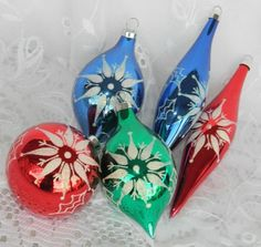 5 Vintage Glass Christmas Ball Long Teardrop Ornaments White Mica Red Blue Green #Unknown
