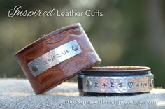 Perfect Valentine's Day or Anniversary gift!  Sweetheart Initials  Love Equation  Personalized leather cuff  by LoveSquaredDesigns, $35.00 - $40.00
