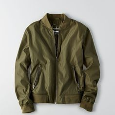 AE Lightweight Bomber Jacket ($70) ❤ liked on Polyvore featuring men's fashion, men's clothing, men's outerwear, men's jackets, green, mens green bomber jacket, mens green jacket, mens lightweight jacket, mens light weight jackets and mens lightweight bomber jacket