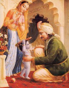 Krishna, Maa Yashoda and Nanda Maharaj