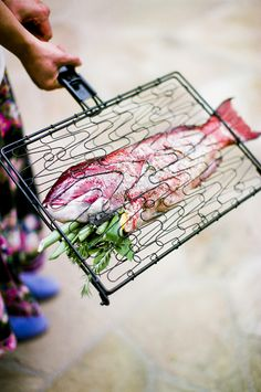 Great fish grilling rack that allows you to cook other veggies simultaneously - awesome for flavor infusion