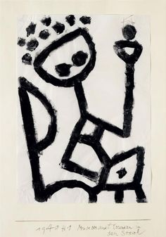 "paul klee.  ""mumon drunk falls into the chair"". 1940"