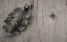 Forged steel oak leaf pendant by Jakob Faram