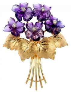 Amethyst and diamond floral spray brooch. Designed as a series of five brilliant-cut diamonds, each within a carved amethyst petal surround, to the gathered stems and textured leaf accents. Estimated total diamond weight Length Weight Z Antique Brooches, Antique Jewelry, Vintage Jewelry, Purple Gold, Green And Purple, Deep Purple, Lilac, Purple Jewelry, Amethyst Jewelry