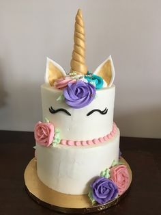 Two tier unicorn ganache cake | Cake Creations by Leah