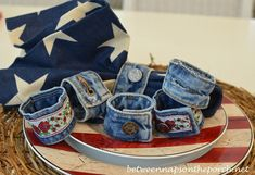 Make Denim Napkin Rings from Re-purposed Jeans