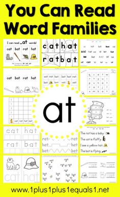 _at Word Family from 1plus1plus1equals1 on TeachersNotebook.com - (25 pages) - _at Word Family Printables