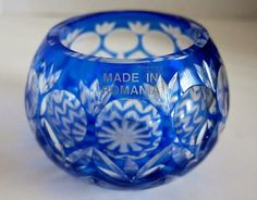 Vtg Romanian Cut to Clear Glass Cased Crystal COBALT BLUE Votive Candle Holder
