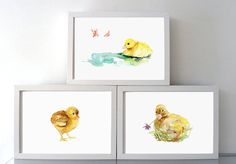 Young birds art chick and duckling Watercolor painting - Giclee Print - Nursery Animal Painting - chicken illustration - yellow art animal