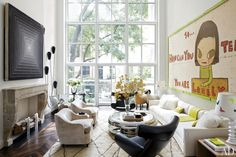 The living room of the townhouse renovated by Delphine Krakoff