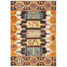 "Anatolian Wool Kilim 4'1""x5'9"" (4.139.940 COP) ❤ liked on Polyvore"