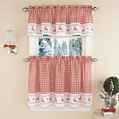 Christmas Reindeer Red Check Cafe Curtains Holiday Window 2 Tier Panel Set  #LorraineHomeFashions #Country