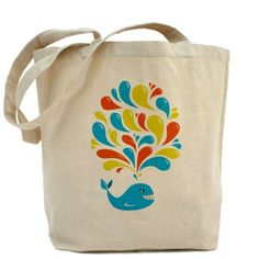 Colorful Happy Cartoon Whale Tote Bag #bags #accessories #cafepress