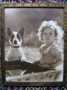 1930s early photograph of Shirley Temple and Dog in Original Frame by Schoolhouseantiques, $400.00