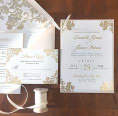 Letterpress and Gold Foil Invitation • Custom Wedding Invitation • Formal Wedding Invitation • Custom Design • Invitation Pocket • Lace Wedding Invitation • Lace Envelope Liner • Wedding Invitation Design • Custom Wedding Paper Details • Blush Envelope