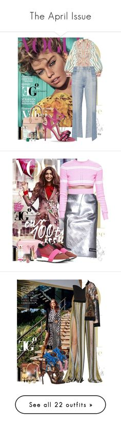 """""""The April Issue"""" by eleonoragocevska ❤ liked on Polyvore featuring Etro, AG Adriano Goldschmied, Manolo Blahnik, Prada, Elie Saab, NARS Cosmetics, Yves Saint Laurent, Chanel, Rolex and Versace"""