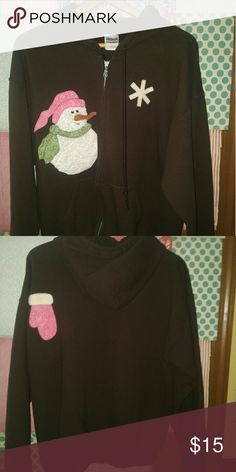 Winter Hoodie Brown with snowman on front and glove on the back. It's in great shape. Can be worn all winter since not Christmas related. Really unique piece. Tops Sweatshirts & Hoodies