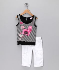 Black Stripe Camera Tank & Pants - I HAVE to get this for Frances since both her mommy and daddy are trained photographers!