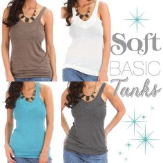 "SALE $17Soft & casual tank top 4 colors . ☺️These were a bestseller last season so I'm bringing them back for 2016. Softest tank ever!! Super comfy & casual. Wear under a hoodie, cardigan or even alone with some shorts or skinnies. Price is for each. Available in white, brown, blue or charcoal. 68% polyester 29% rayon 3% spandex. S: bust is 15"" across laying flat & 26"" long. M: bust is 16"" across laying flat & 27"" long. L: bust is 17"" across laying flat & 28"" long. CupofTea Tops Tank Tops"