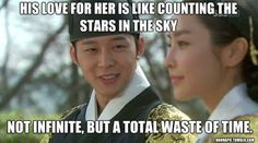 His love for her is like counting the stars in the sky... not infinite, but a total waste of time xd
