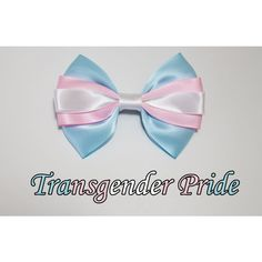 Transgender Pride Bow ($8) ❤ liked on Polyvore featuring accessories, hair accessories, ribbon hair clips, barrette hair clips, bow hair accessories, bow hair clips and hair clip accessories