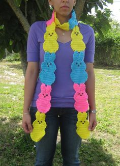 Show me your peeps pink blue and yellow peeps bunny Scarf. $50.00, via Etsy.