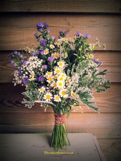 Aster Daisy Purple & White wedding brides bouquet by #bloomboxflowers