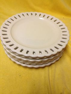 SET 6 PORTMEIRION STUDIO VALERIE 10 INCH DINNER PLATES LATTICE EDGE + Server