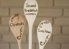 Hobbit Meal Times - Second Breakfast, Elevenses, Luncheon - Lord of the Rings Themed Wooden Spoons - Set of Three Woodburned Spoons