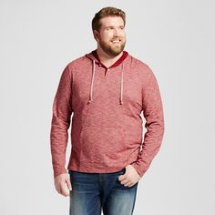 Men's Big & Tall Plated Jersey Hooded Henley