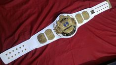WWF World Championship Belt Winged Eagle with white Leather World Heavyweight Championship, World Championship, Rich Family, Classic Gold, Professional Wrestling, Brass Metal, Metallic Paint, Cowhide Leather, Real Leather