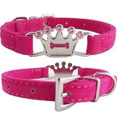 "WwWSuppliers Adjustable Hot Pink PU Suede Leather Princess Crown Bling Diamond Fashion Collar for Dogs & Puppies (SMALL 7 1/2""- 10 1/2"") WwWSuppliers http://www.amazon.com/dp/B00HS8LMAY/ref=cm_sw_r_pi_dp_D02xwb0045GJD"