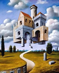 Suspension of Merit by Rafal Olbinski Rene Magritte, Surrealism Painting, Pop Surrealism, Magritte Paintings, School Of Visual Arts, Wassily Kandinsky, Magic Realism, Anime Kunst, Fantasy Kunst