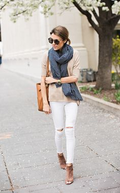White jeans into fall