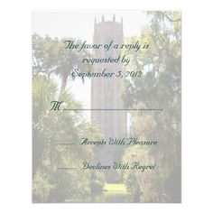 Bok Tower Wedding RSVP Personalized Custom Invites