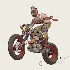 Moto Raider by Fernando Correa Character Concept, Character Art, Concept Art, Motorcycle Art, Bike Art, Motorcycle Wheels, Cool Car Drawings, Art Drawings, Desenho Scooby Doo